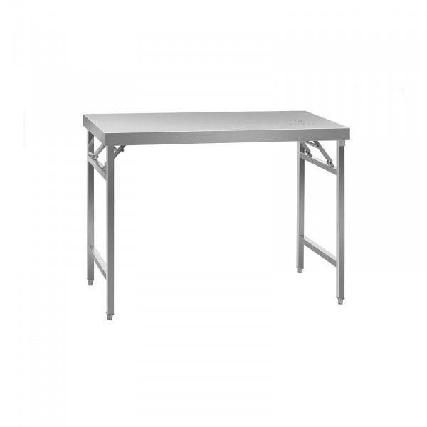 Mesa de trabalho dobrável - 60 x 120 cm - aço inoxidável