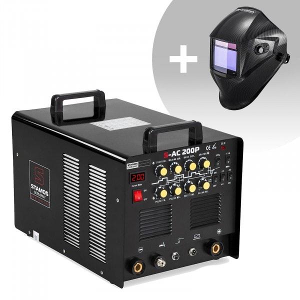 Conjuntos de soldar Máquina de Soldar ALU - 200 A - 230 V - impulso - pedal incl. + Máscara de Soldar - Carbonic - SÉRIE PROFESSIONAL