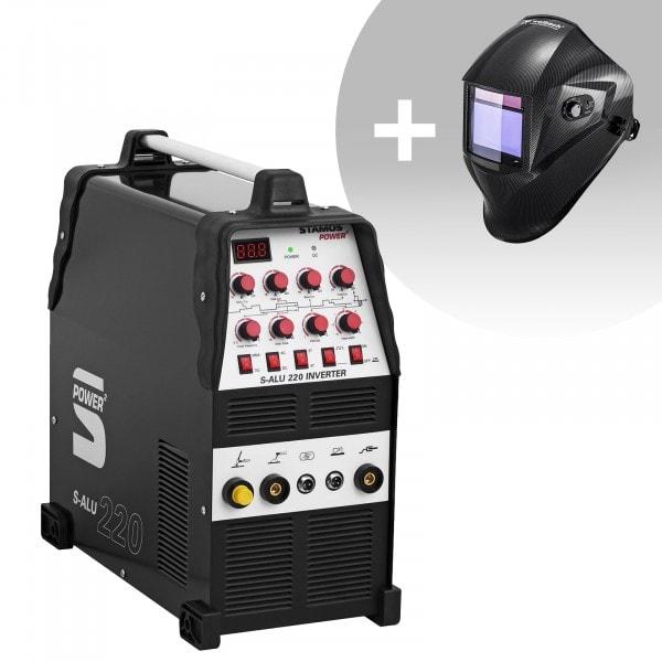Conjuntos de soldar Máquina de soldar de alumínio - 200 A - 230 V - Impulsos - 2/4 tempos + Máscara de Soldar - Carbonic - SÉRIE PROFESSIONAL