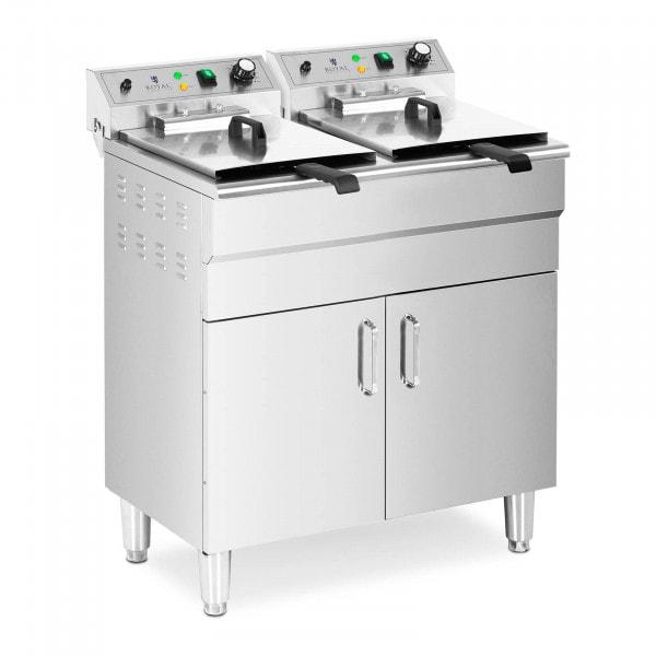 Fritadeira de duas câmaras - 26 l - 10000 W - torneiras de drenagem - zona fria - armário