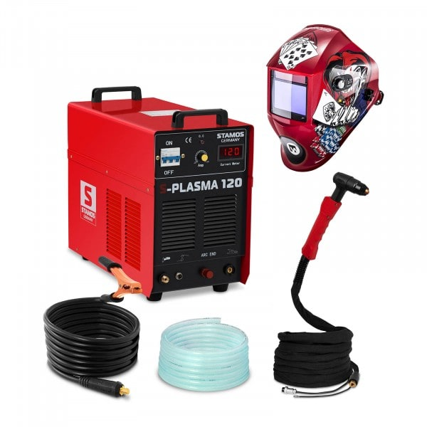 Conjuntos de soldar Máquina de Corte por Plasma - 120 A - 400 V - Chama Piloto + Máscara de Soldar - Pokerface - SÉRIE PROFESSIONAL
